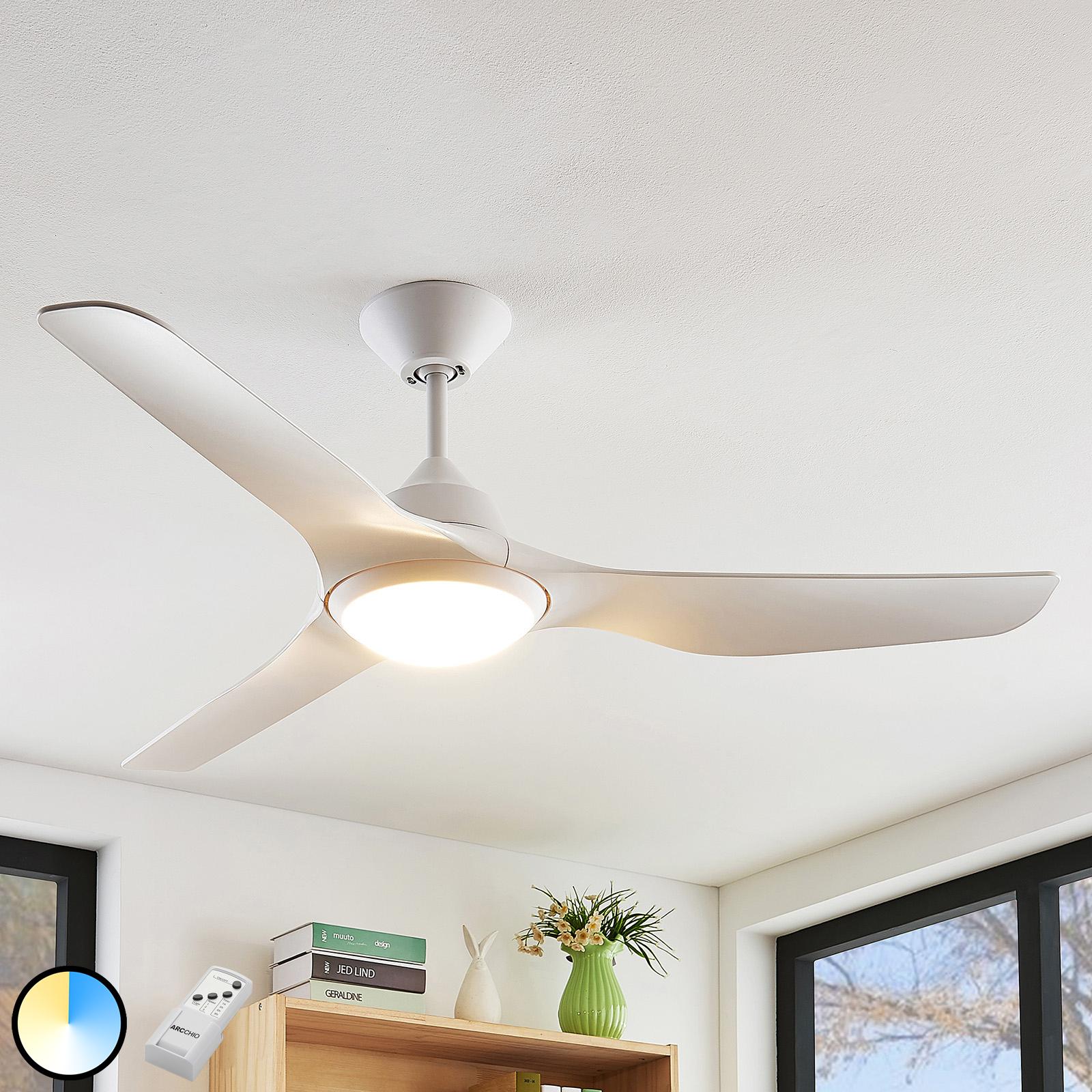 Arcchio Pira LED plafondventilator, 3 vleugel, wit
