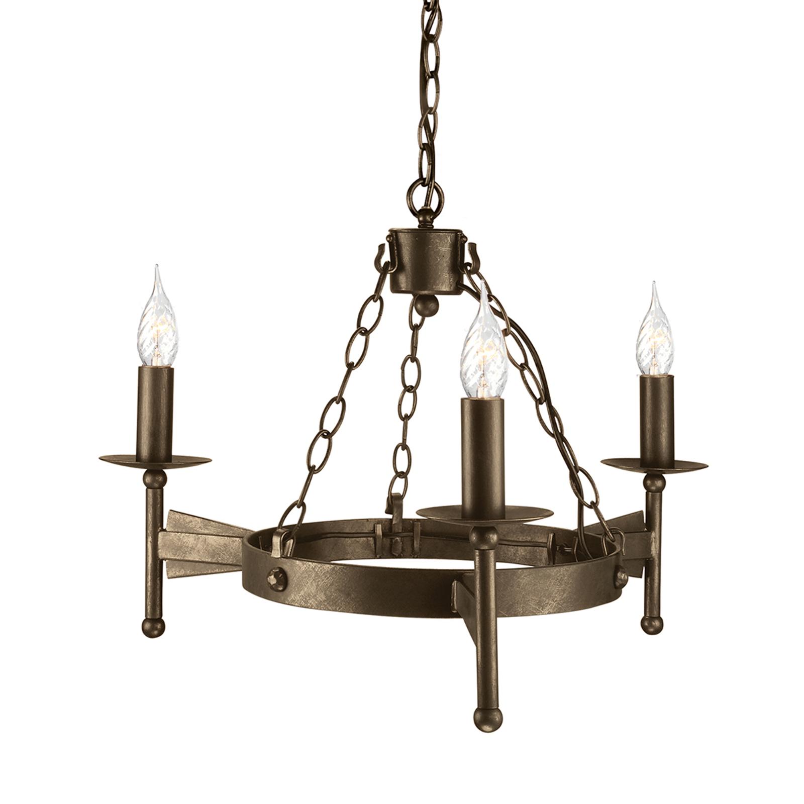Suspension médiévale à 3 lampes CROMWELL