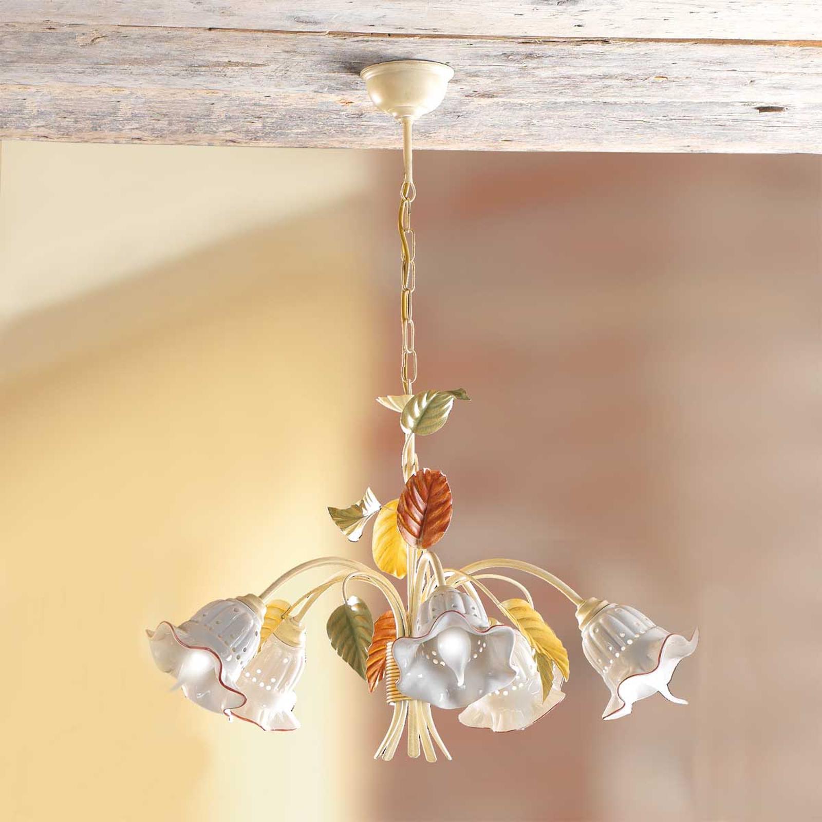 Flora hengelampe med fem lys i florentinsk stil