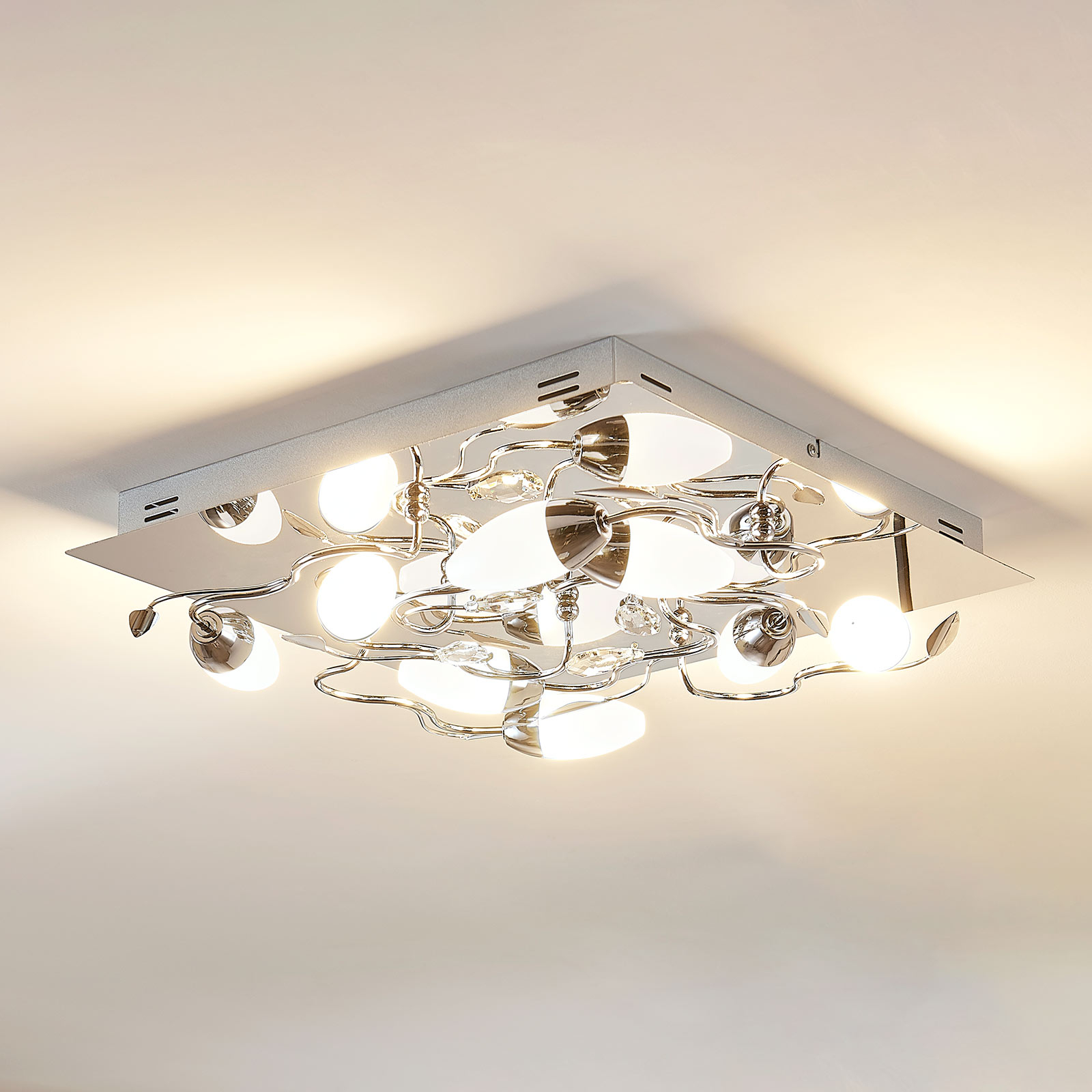 Plafonnier LED dimmable Mischa, 8 lampes, carré