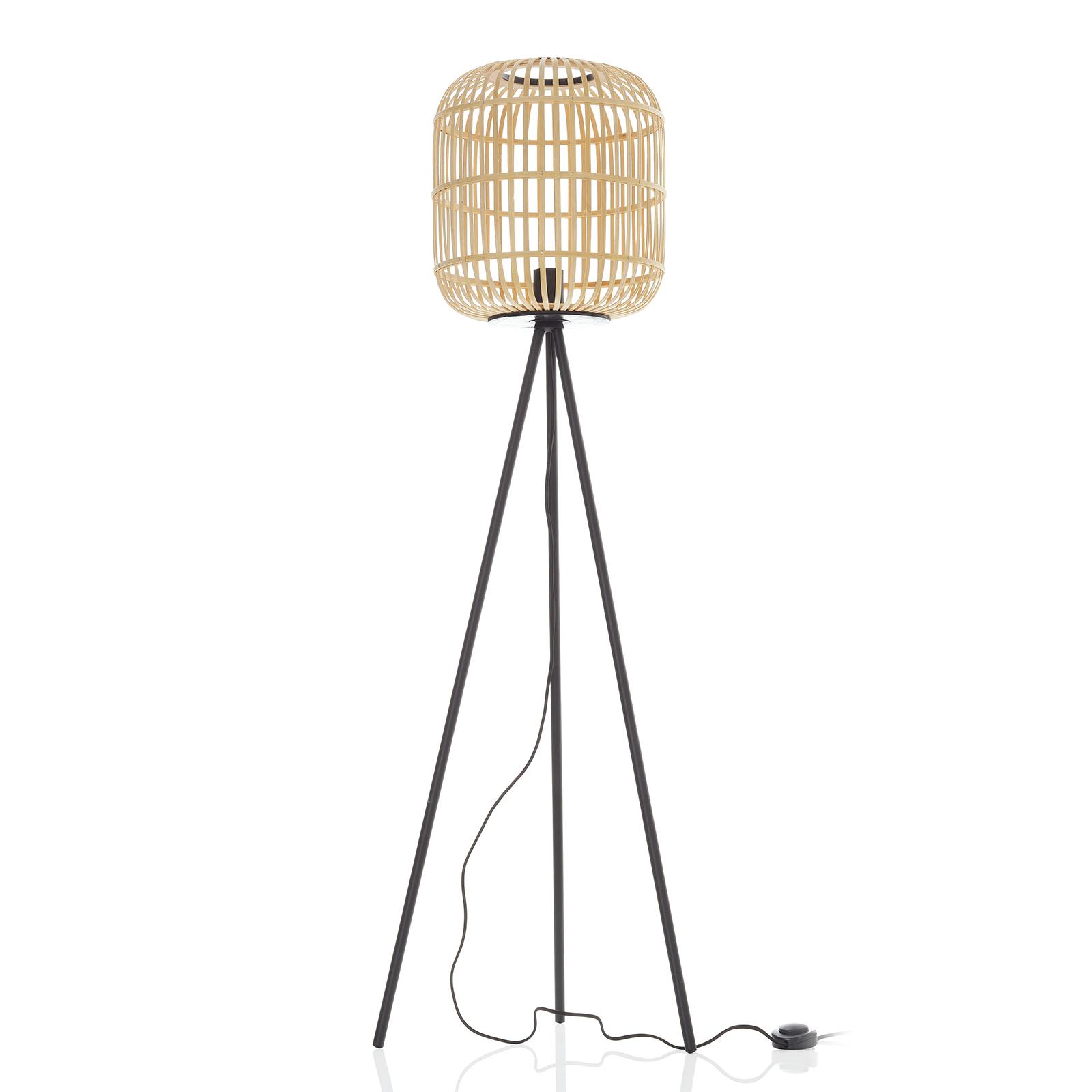Vloerlamp Bordesley driebeen met houten kap