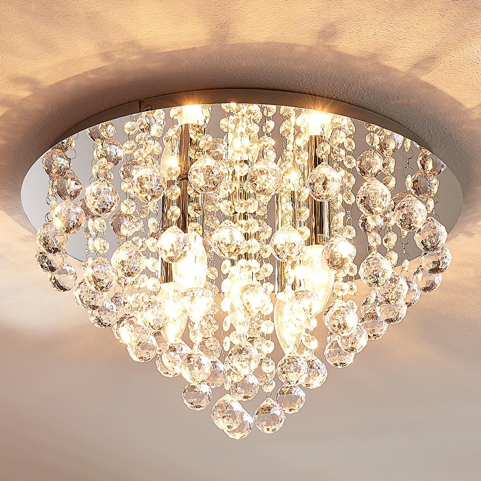 Fonkelende plafondlamp Annica met chromen plaat