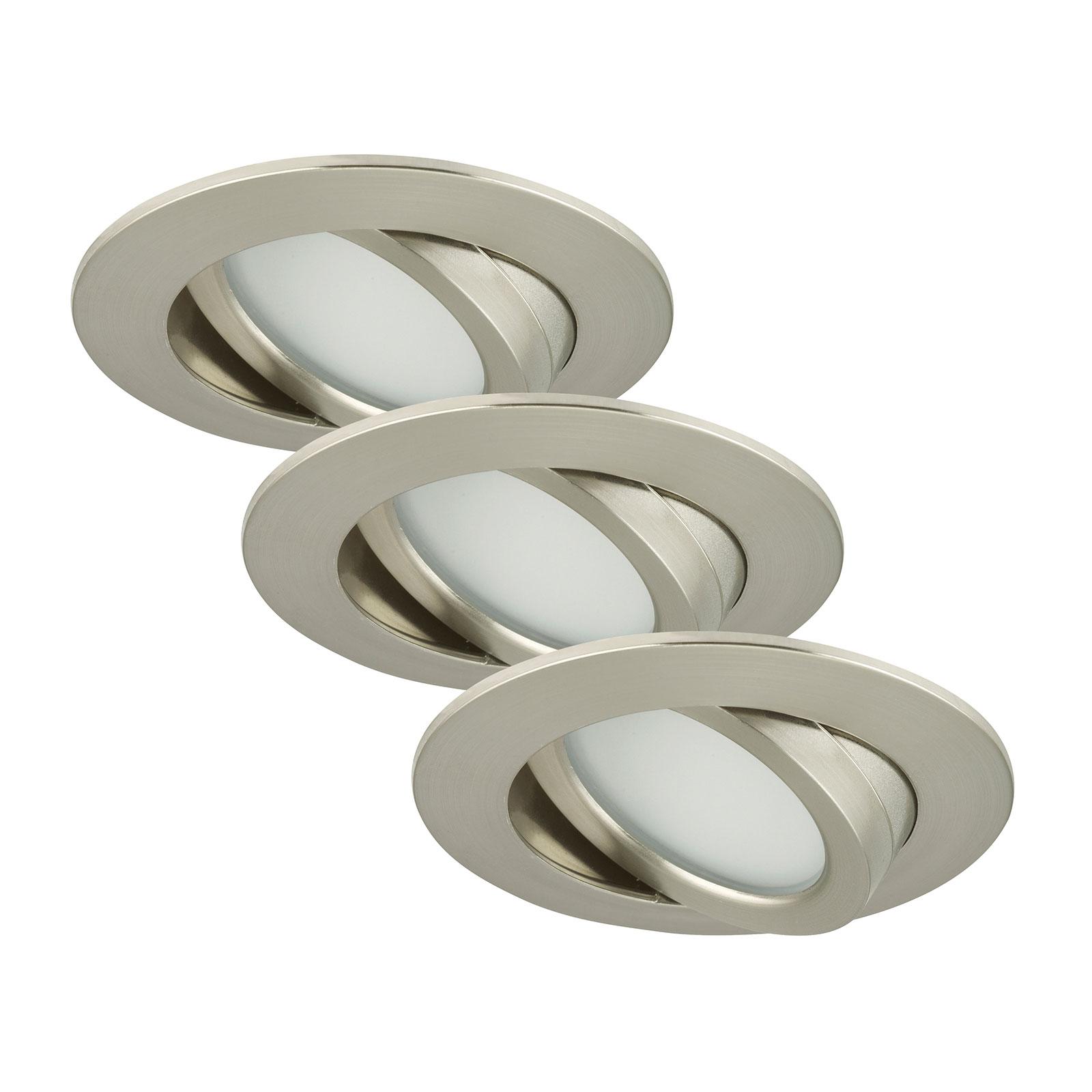 3 obrotowe oprawy wpuszczane LED Bert, nikiel