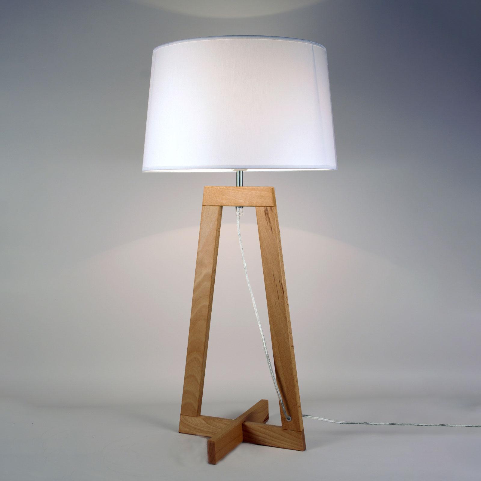 Tischleuchte Sacha LT aus Textil und Holz