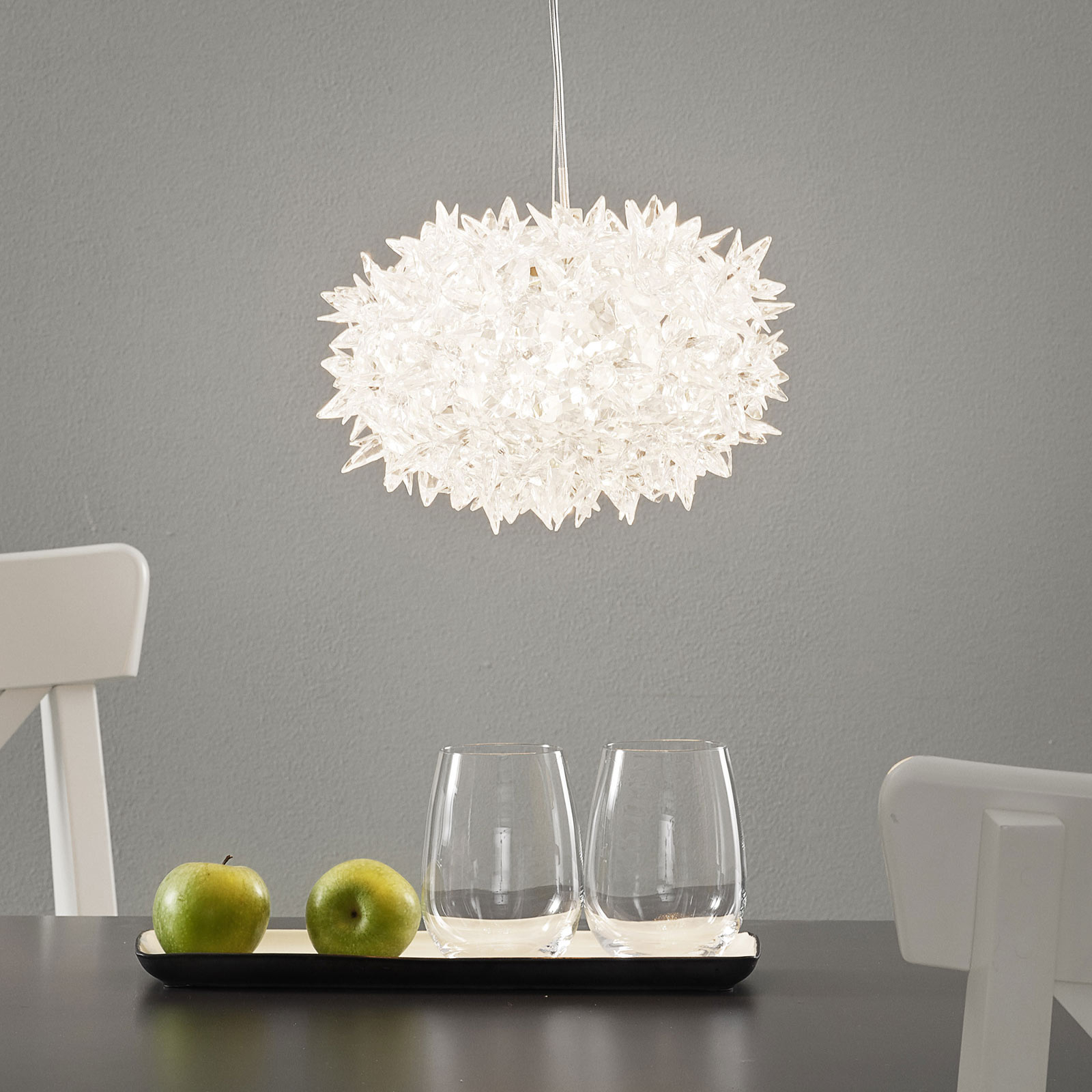 Transparent designer LED pendellampe Bloom, 28 cm
