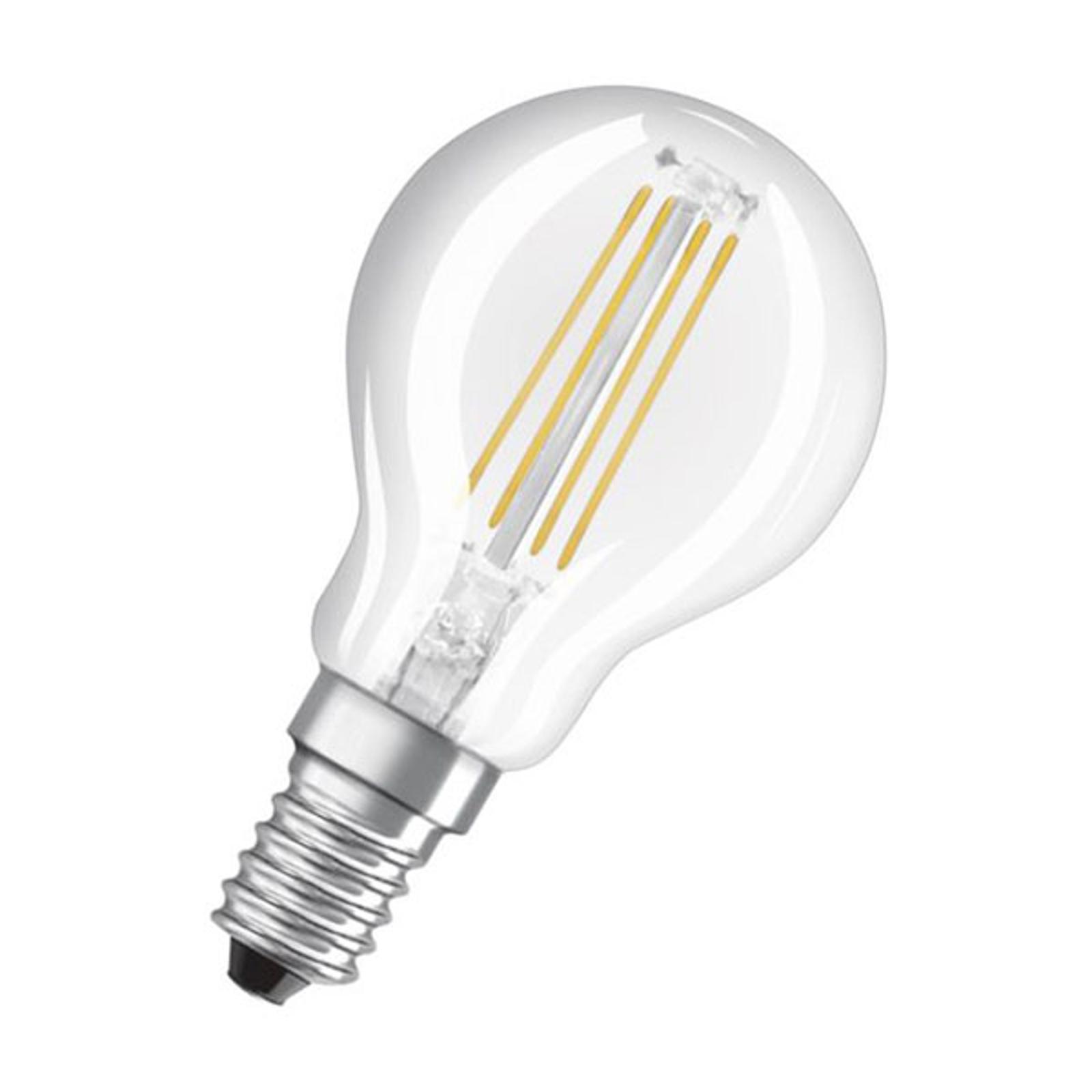 LED-dråpepære E14 4,8W filament, 2700K, dimbar