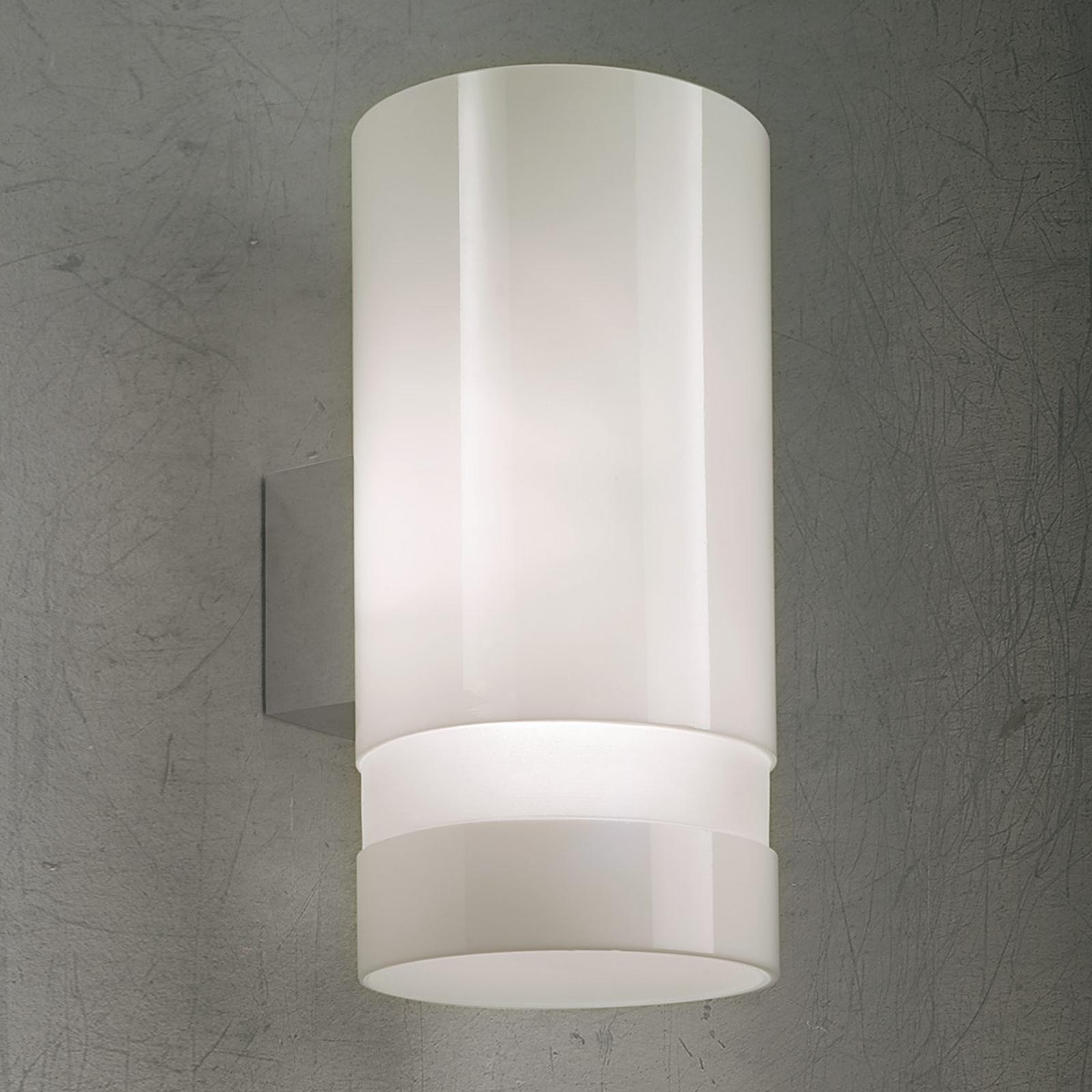 Vegglampe Otello med hvitt glass
