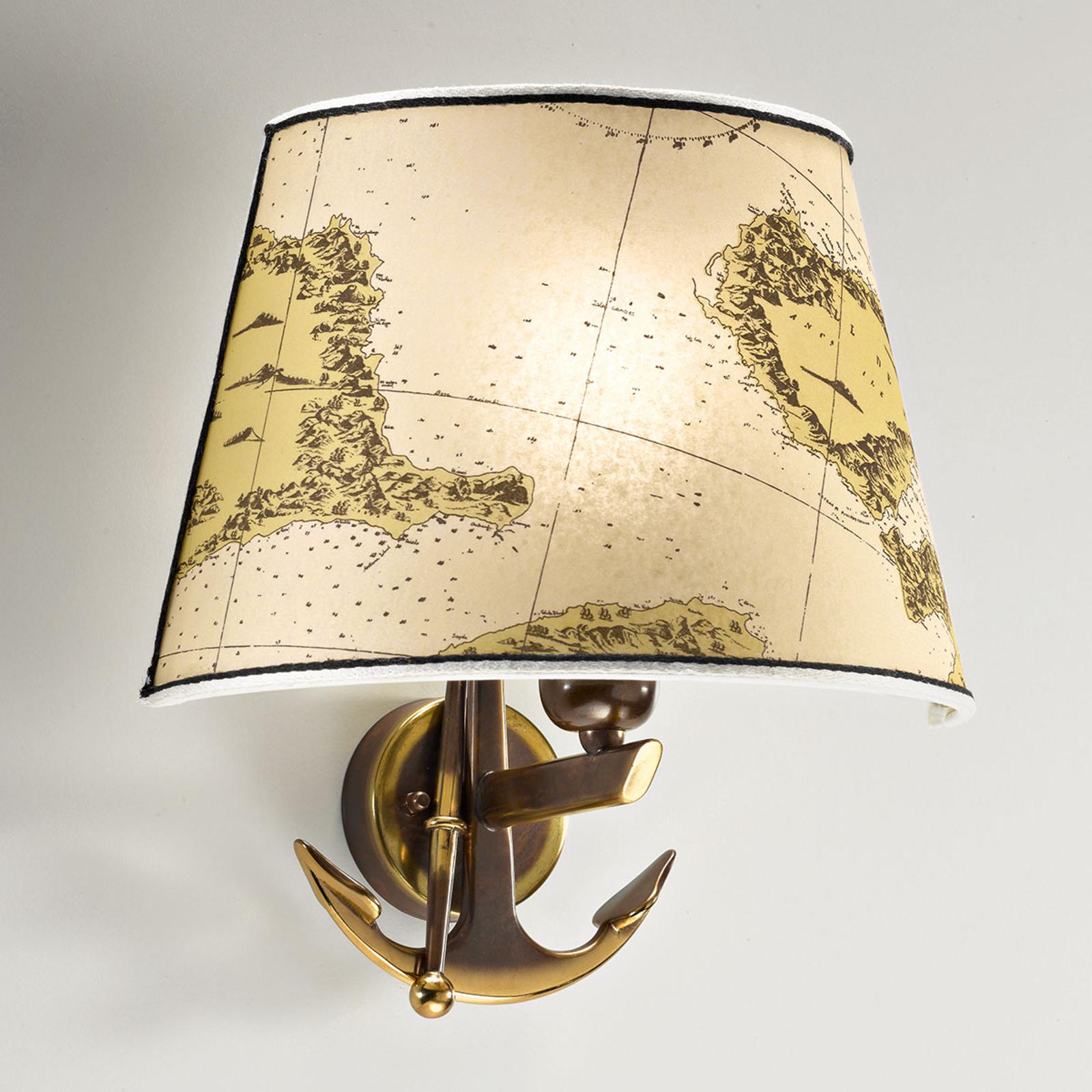 Dekorowana lampa ścienna Nautica kotwica