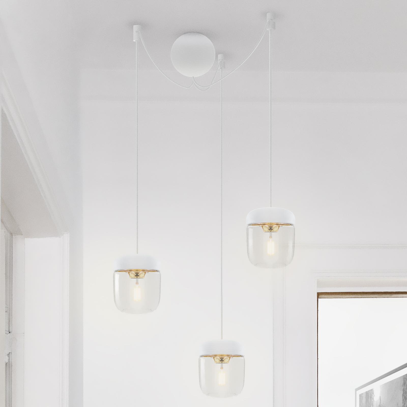 Pendellampe Acorn, hvit og polert messing, 3 lys