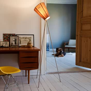 Northern Oslo Wood gulvlampe, stål/beige