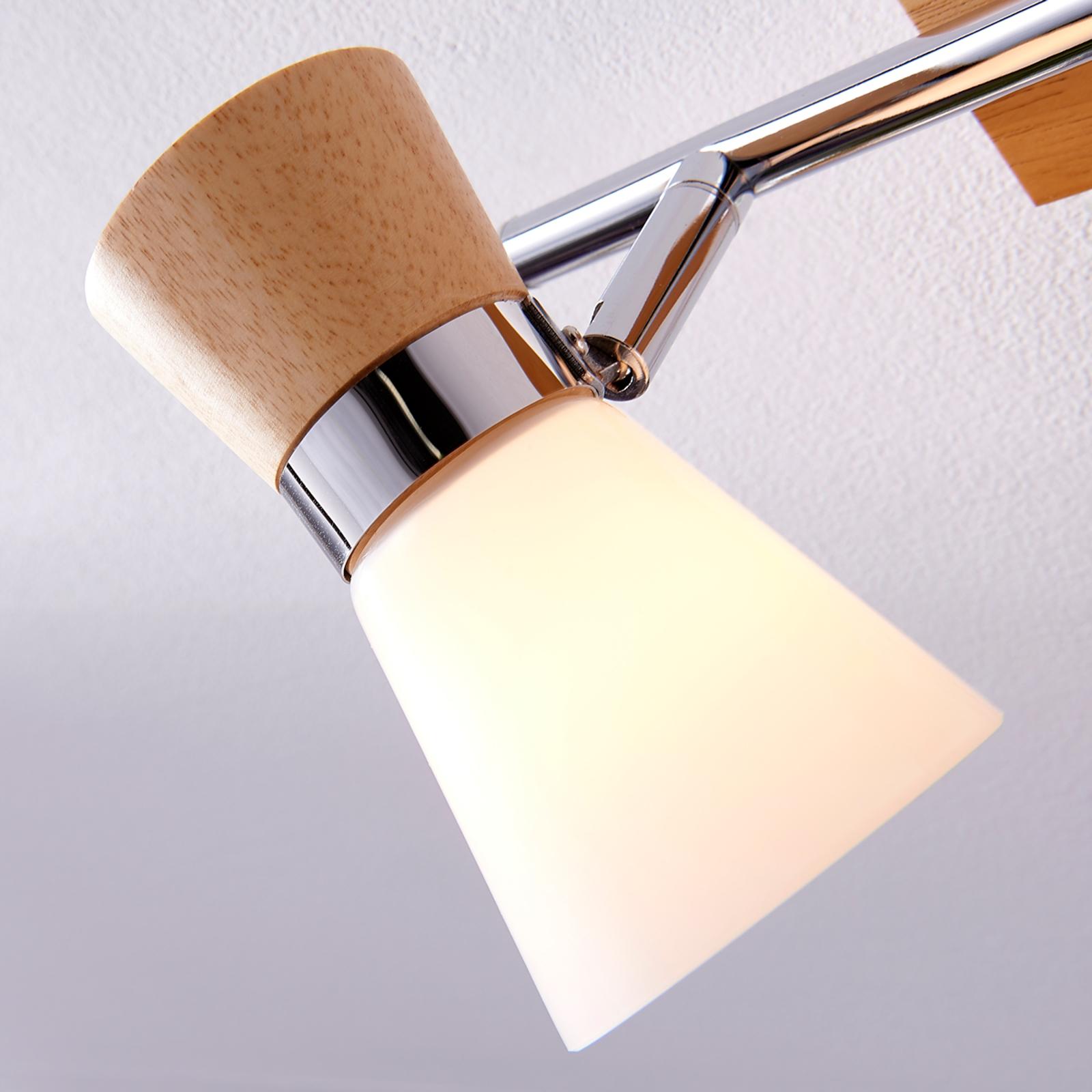 2 flammige Holz Deckenlampe Vivica mit Glas