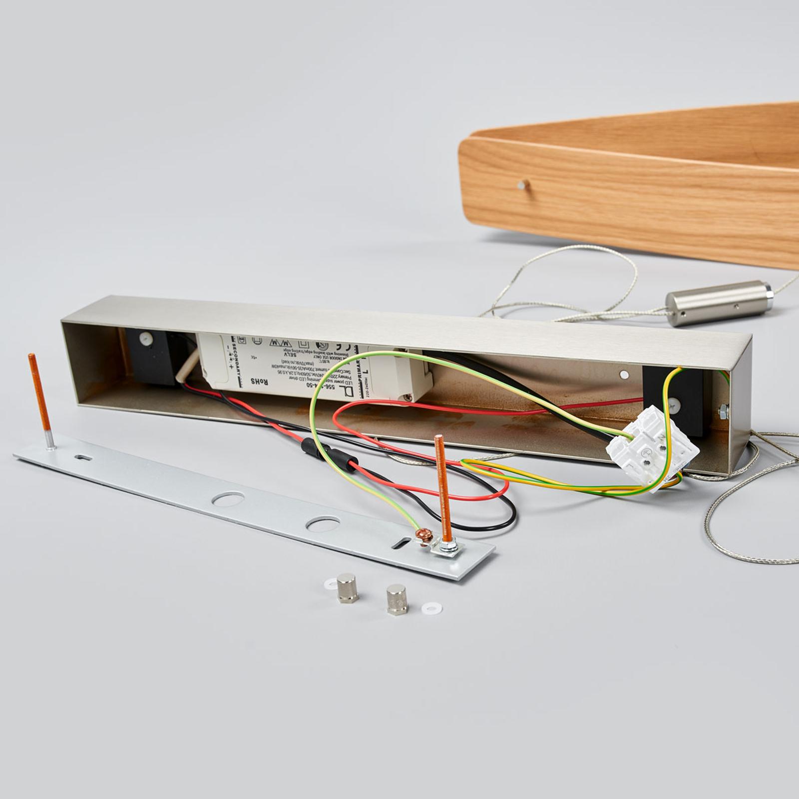 Lámpara colgante LED Lian con madera de roble
