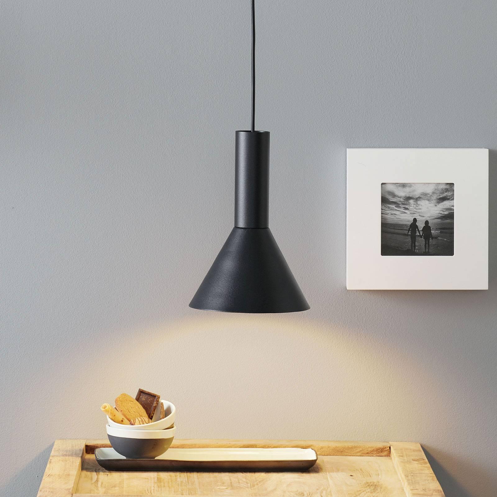 Lucande Caris sospensione Ø 19 cm nero/bianco