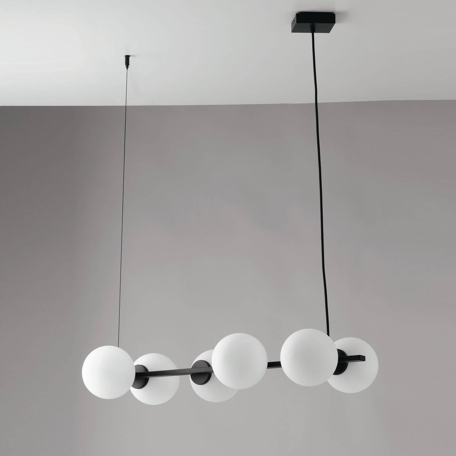 Hanglamp Enoire in zwart en wit, 6-lamps