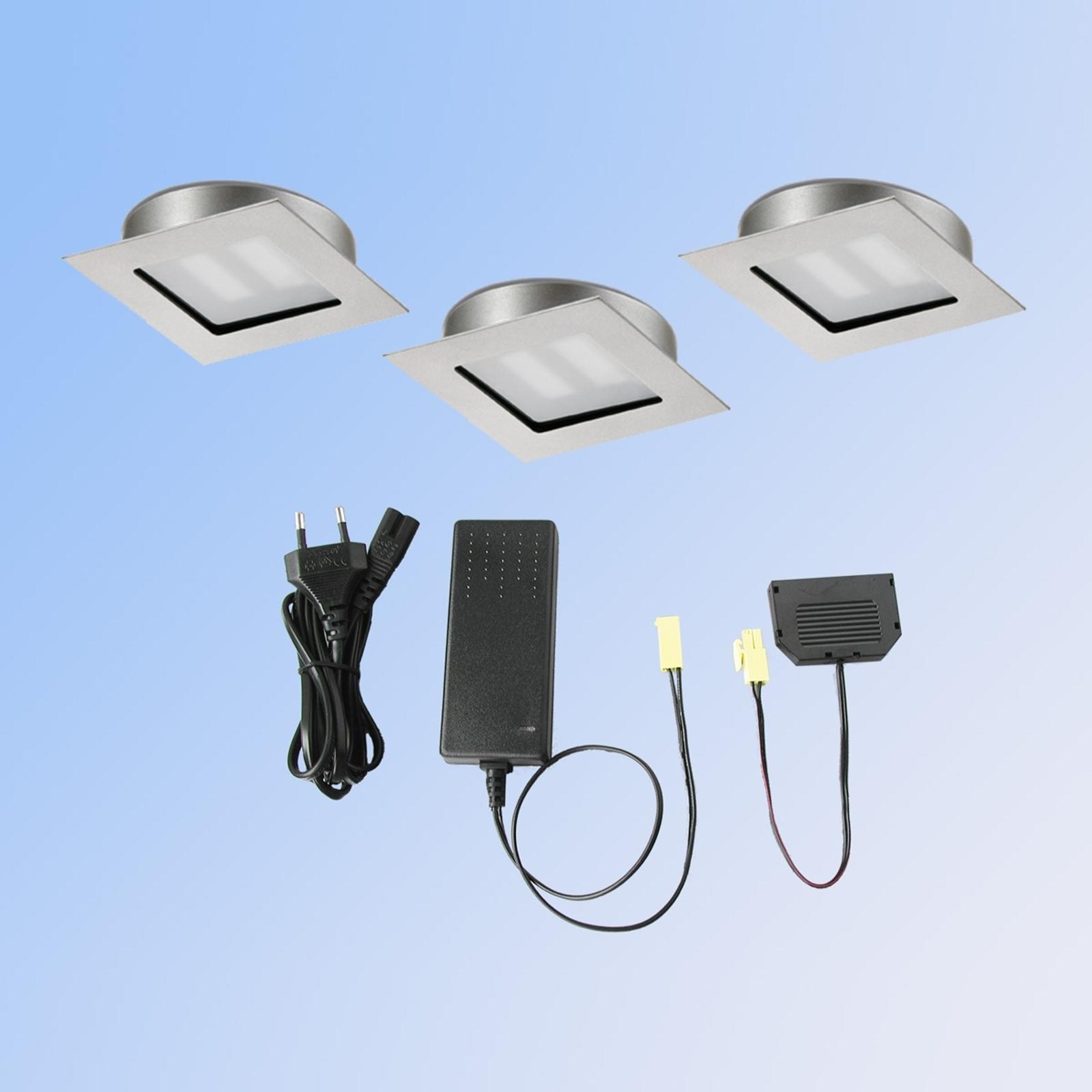 3er-Set LED-Einbauleuchte Cubic 68 Quadrat nickel