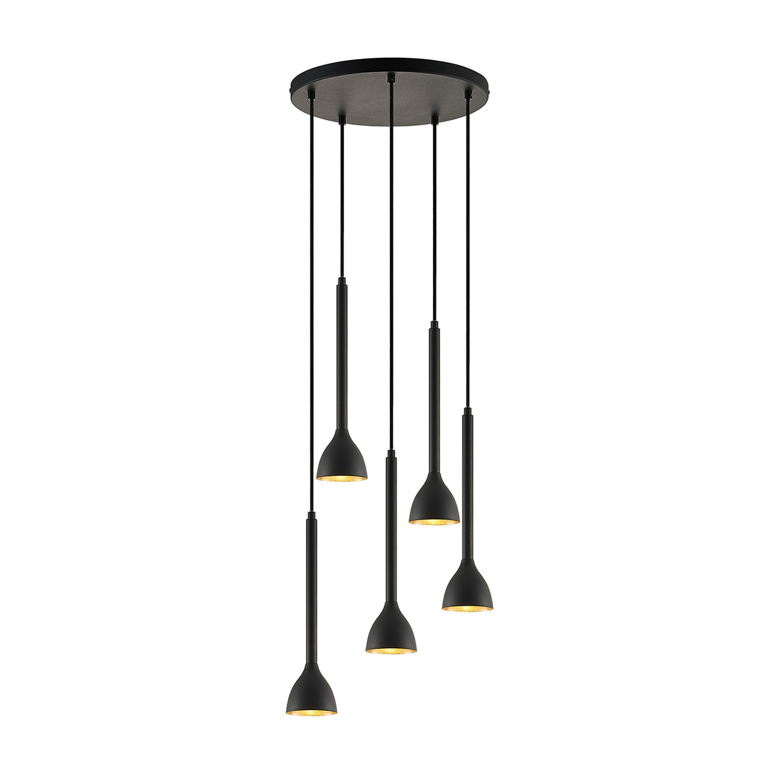 Suspension Nordwin, 5 lampes, noir-or