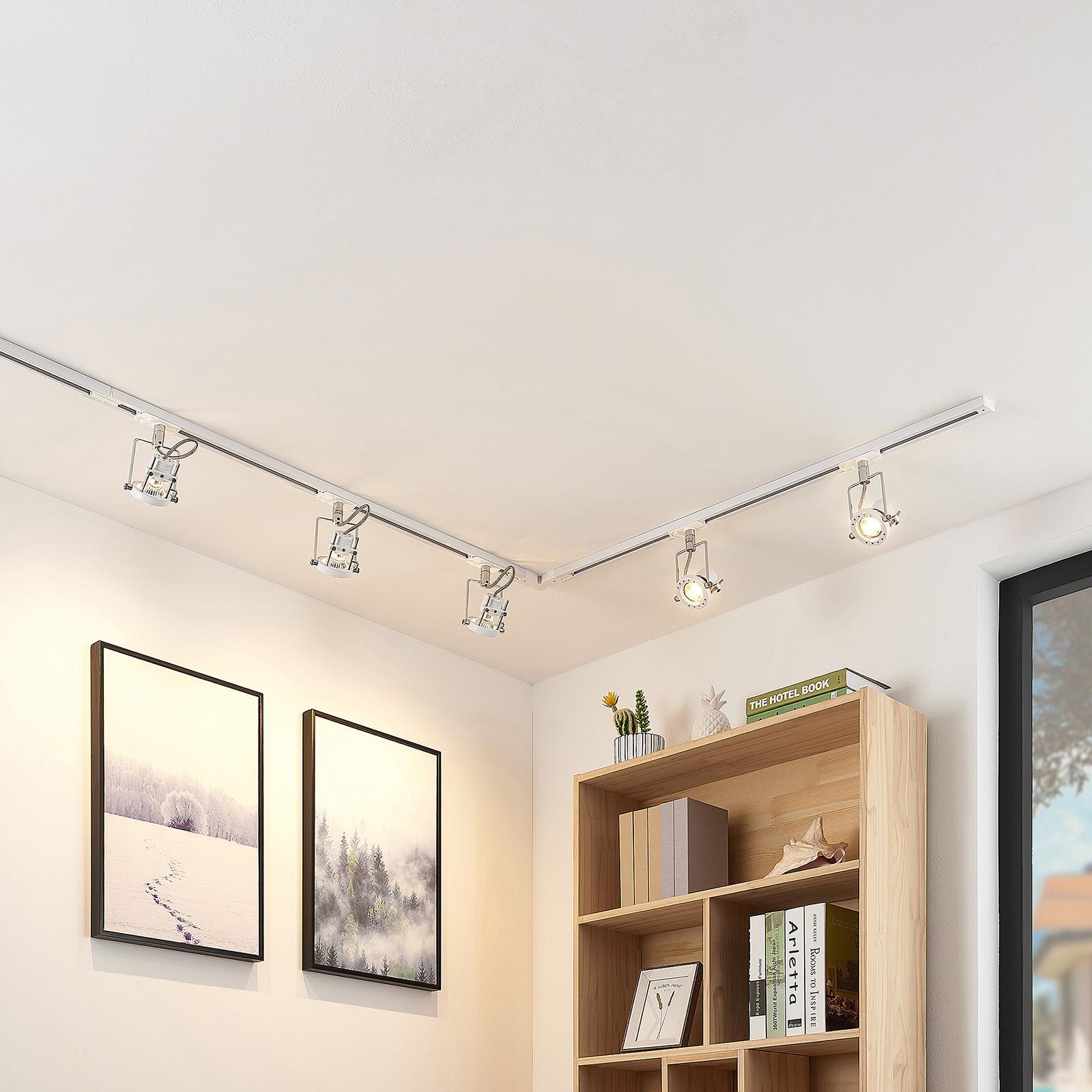 1-faset LED-skinnesystem Arika, 5 lys, hvid