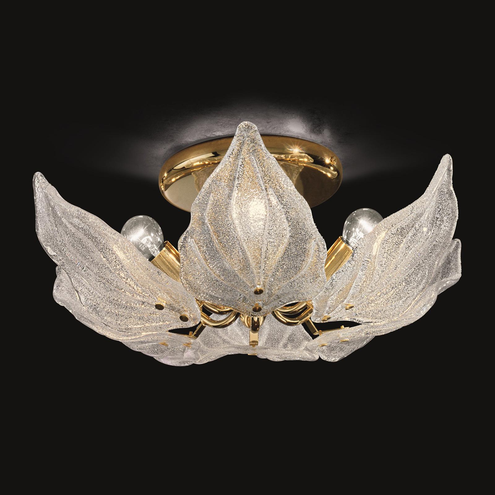 Glazen plafondlamp Foglie, 6-lamps