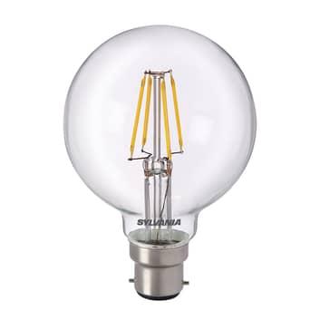 Ampoule globe LED B22 5W 827, transparent
