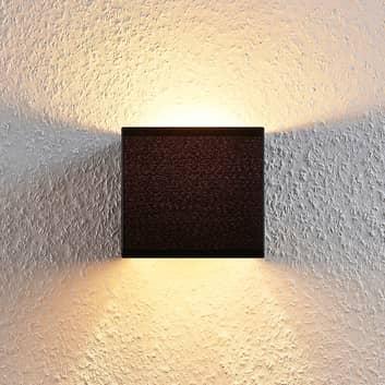 Stoff-Wandlampe Adea mit Schalter, 13 cm, schwarz