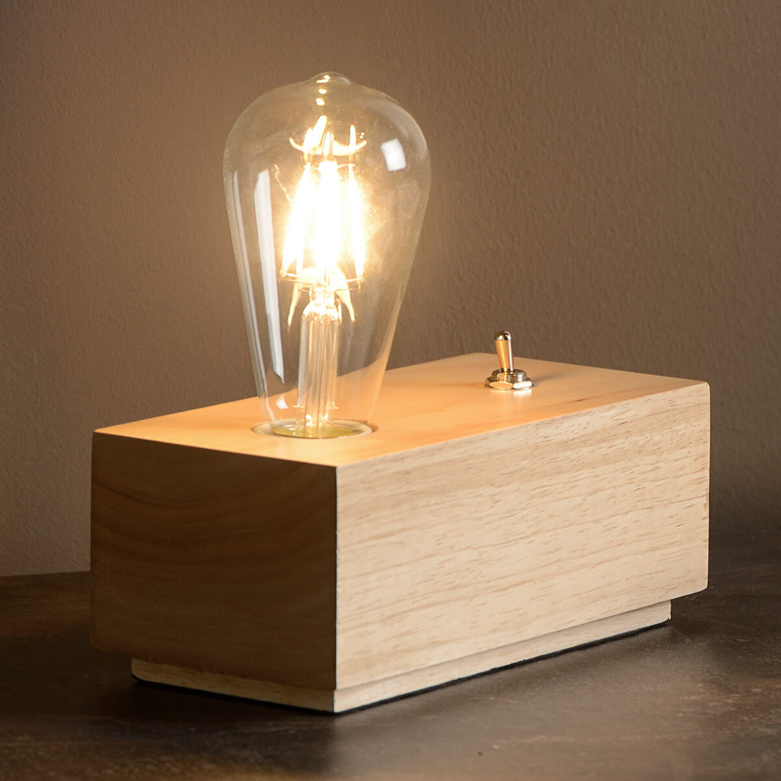 Lampe à poser LED en forme de bloc Edison en bois
