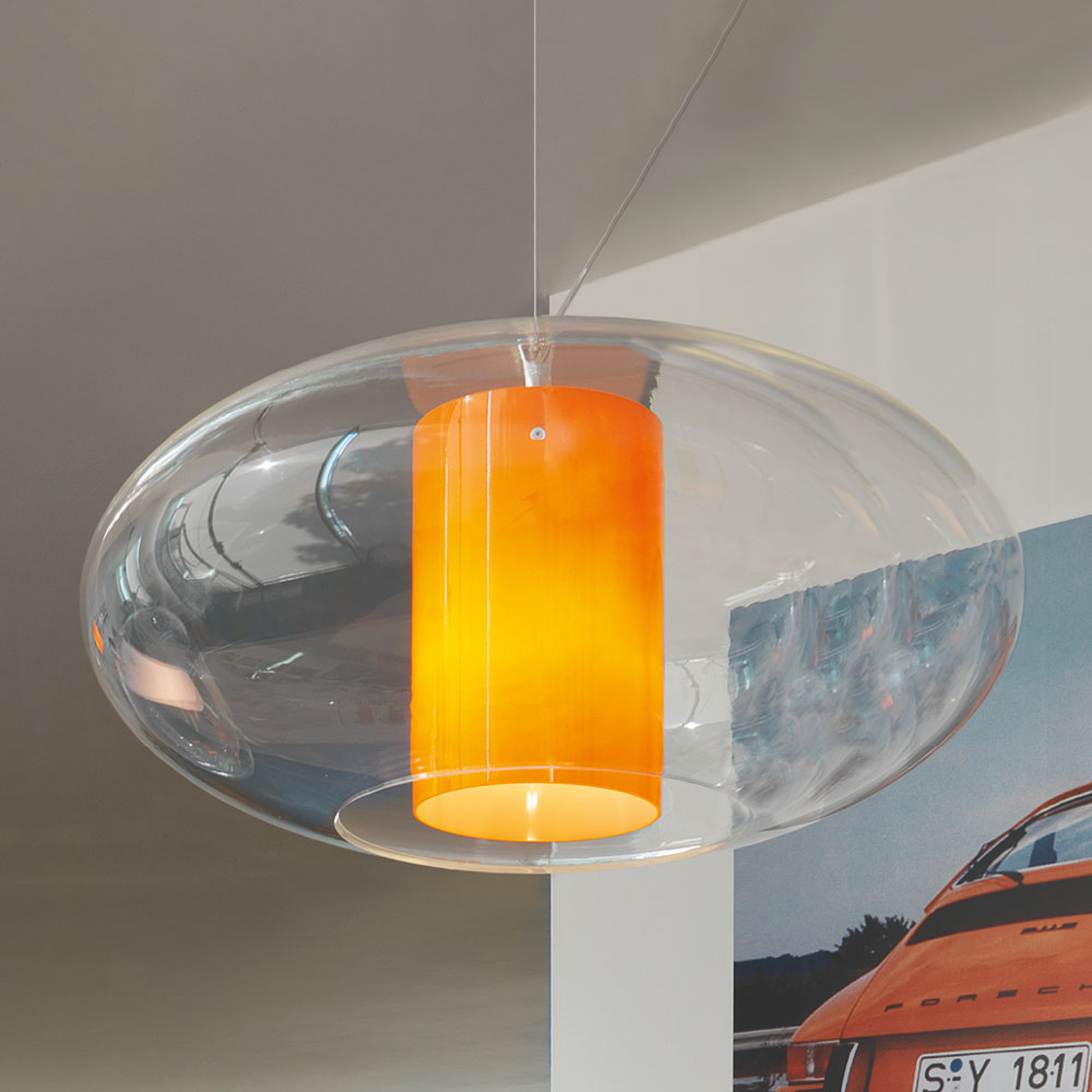 Modo Luce Ellisse suspension plastique orange
