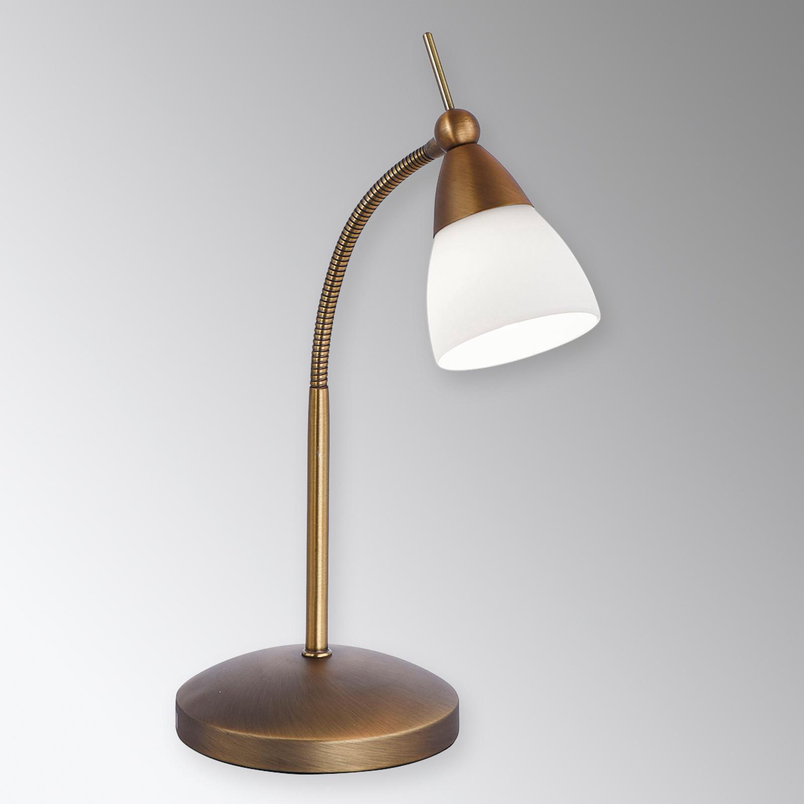 Lampe à poser LED Pino classique, laiton ancien