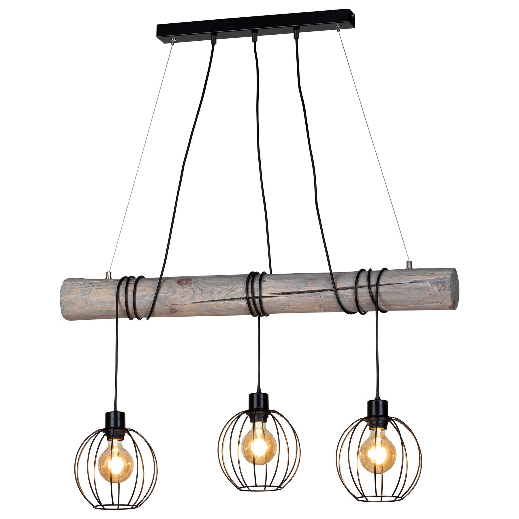 Lampa wisząca Karou, 3-pkt., szara bejcowana