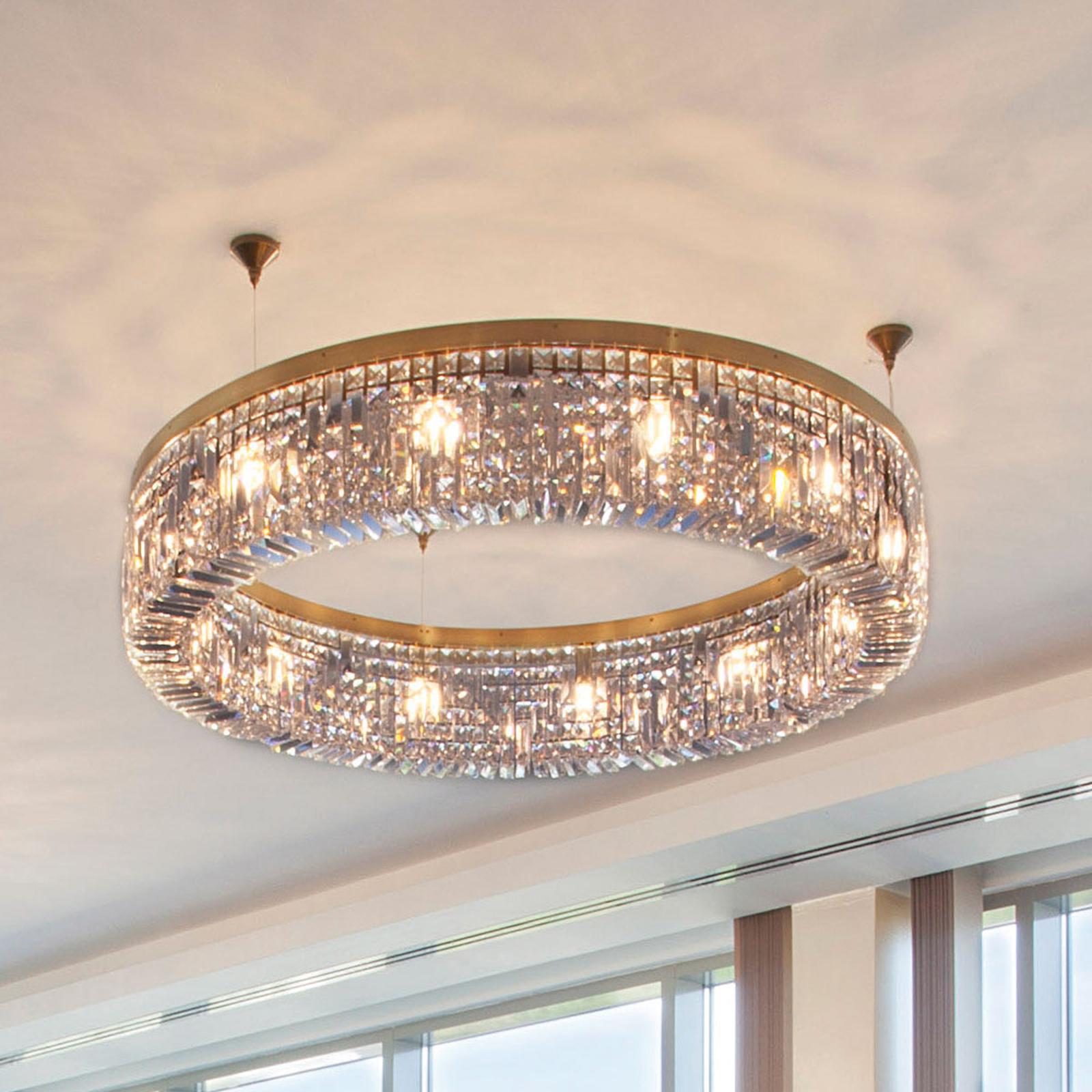 Glinsende krystallhengelampe Ring 110 cm, gull