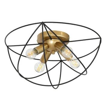 Plafón Copernicus, 4 luces negro/dorado