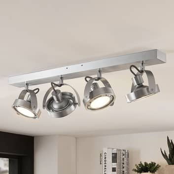 LED-Strahler Munin, dimmbar, alu, 4-flammig