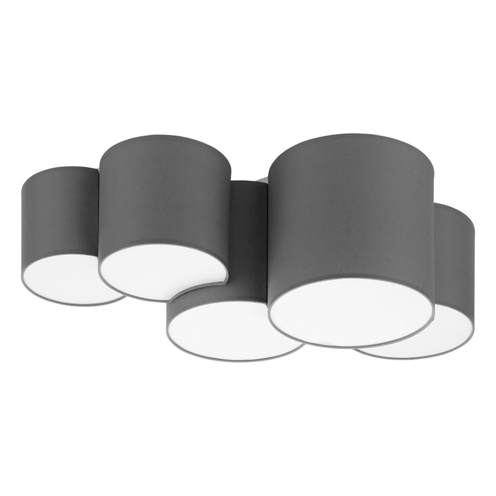 Lampa sufitowa Mona 5-punktowa, szara
