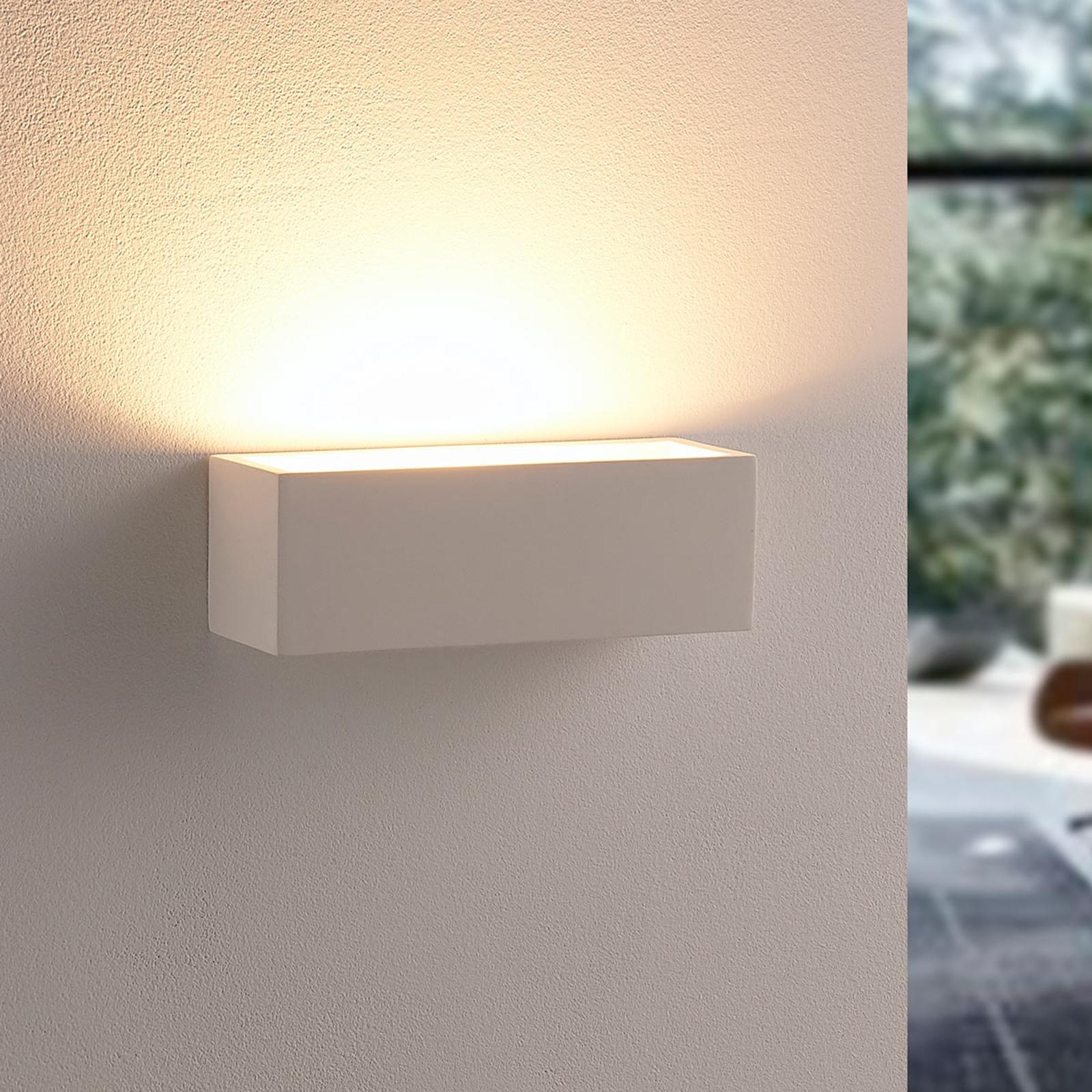 Enkel LED-vegglampe Santino i gips
