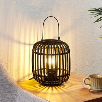 Lindby Canyana stolní lampa z ratanu, černá