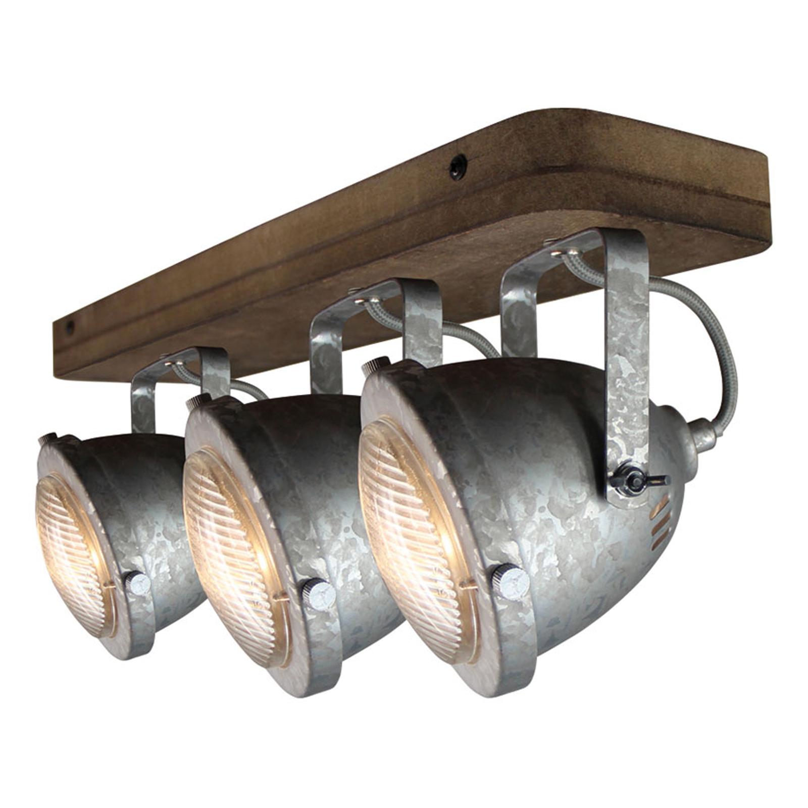 Lampa sufitowa Woody, galwanizowana, 3-punktowa