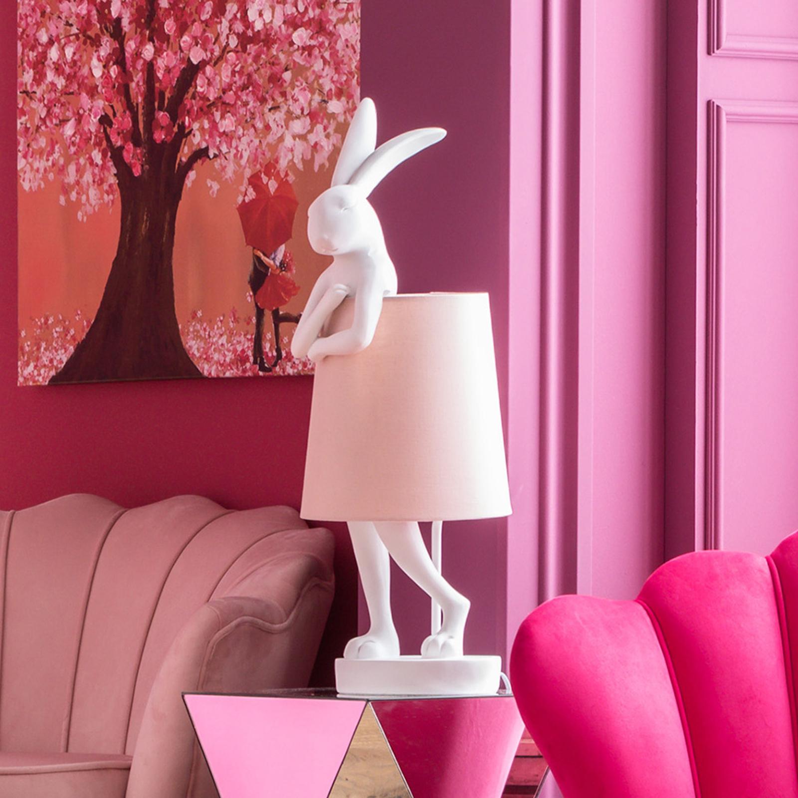 KARE Animal Rabbit tafellamp wit/roze