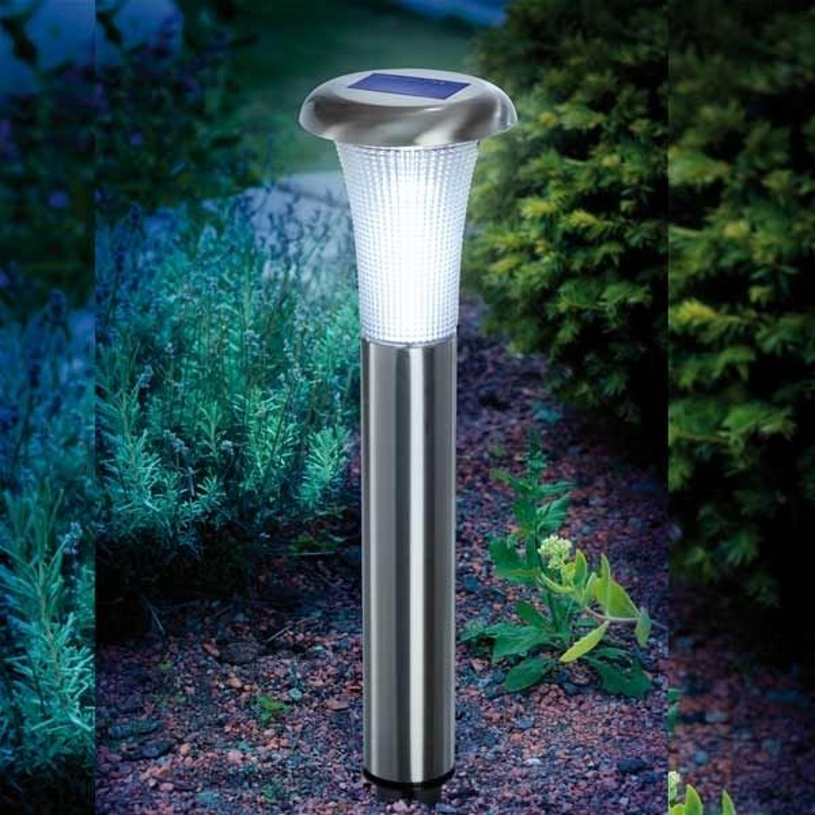 Lampada solare a LED Vesuv in acciaio inox