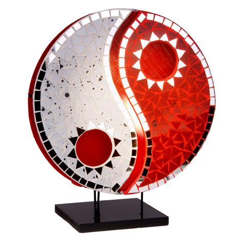 Tischlampe Ying Yang mit Mosaikspiegelsteinen rot