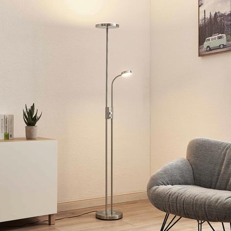 Lindby Seppa LED-Stehleuchte, rund, nickel
