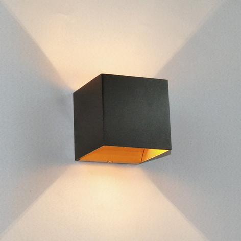 Sort LED-væglampe Aldrina, guldravet inden i