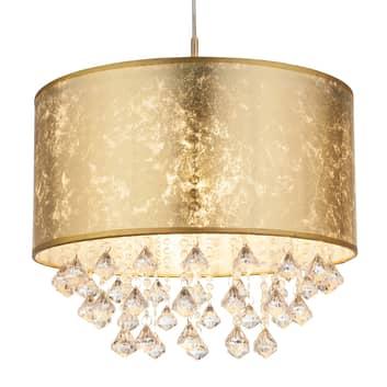 Hanglamp Amy met kunststof kristallen, goud