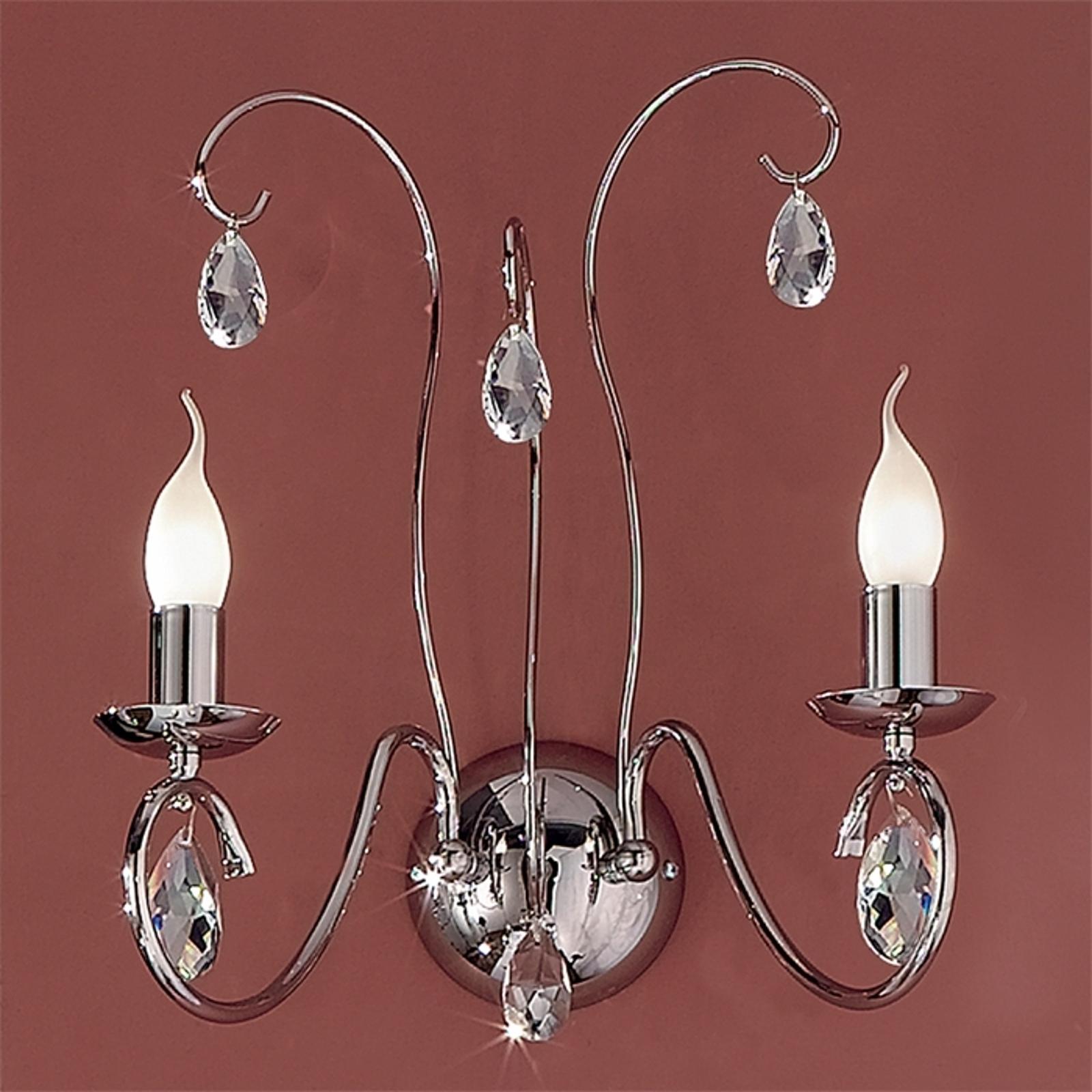 Sierlijke wandlamp FIORETTO 2 l., chroom