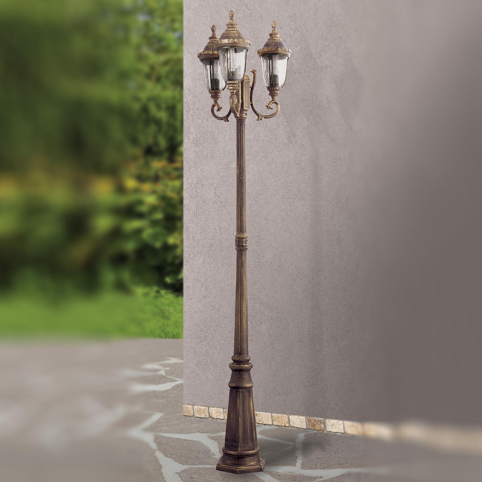 Tradycyjna 3-punktowa latarnia ogrodowa Paula