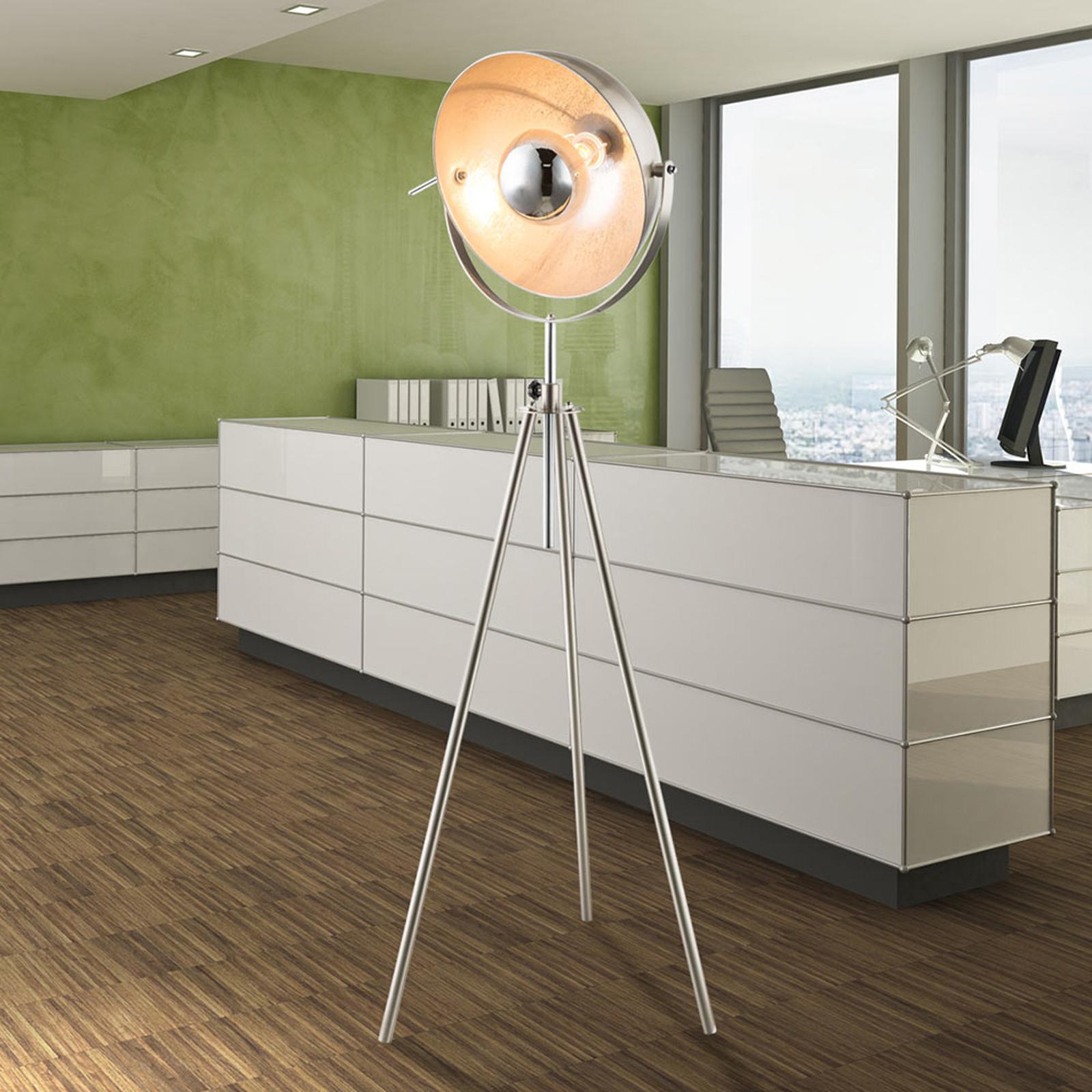 Trójnożna lampa stojąca Nosy niklowa/srebrna