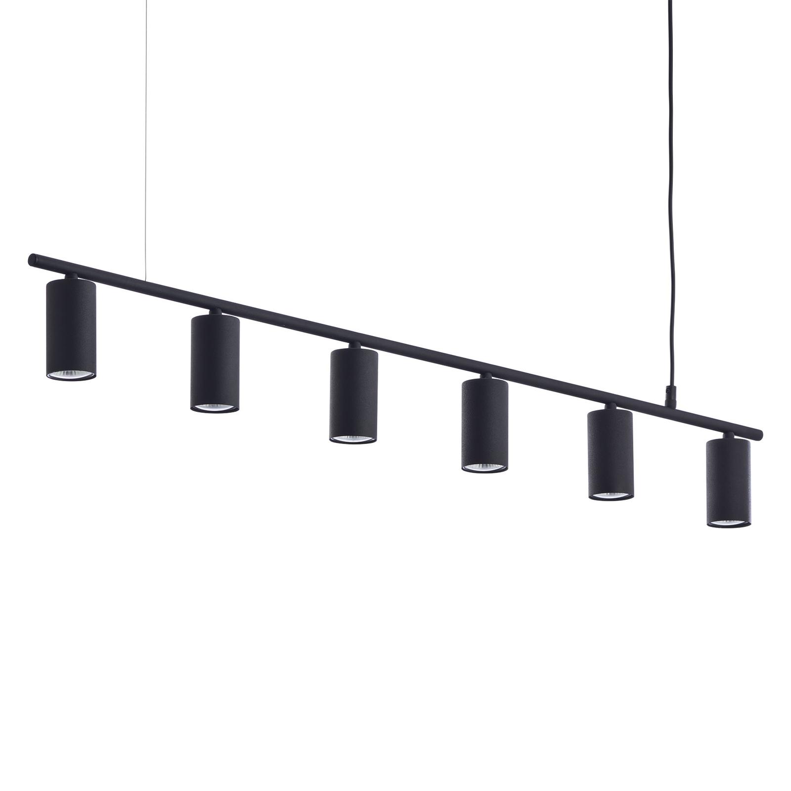 Hanglamp Logan, 6-lamps, zwart