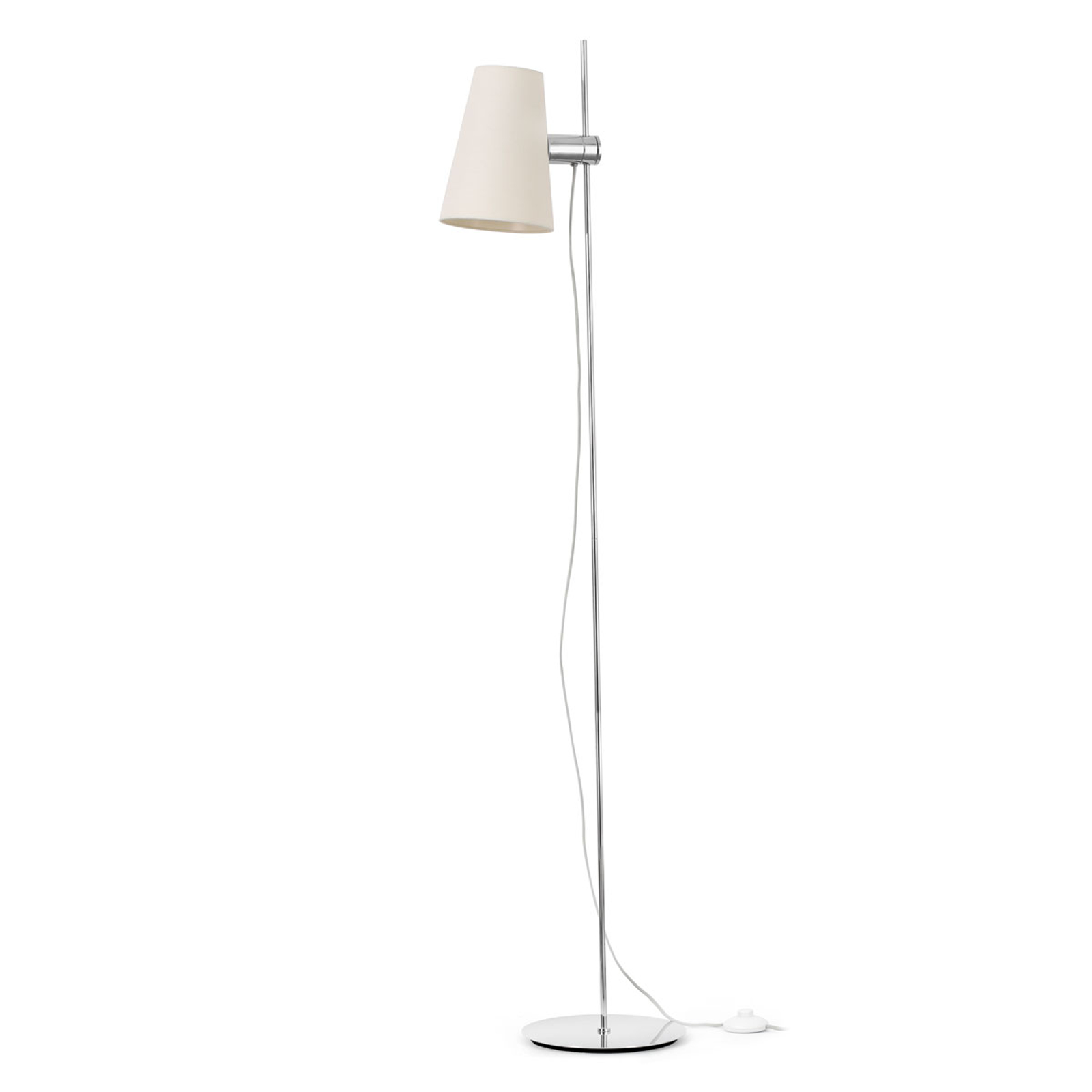 Lupe standerlampe med justerbar tekstilskærm