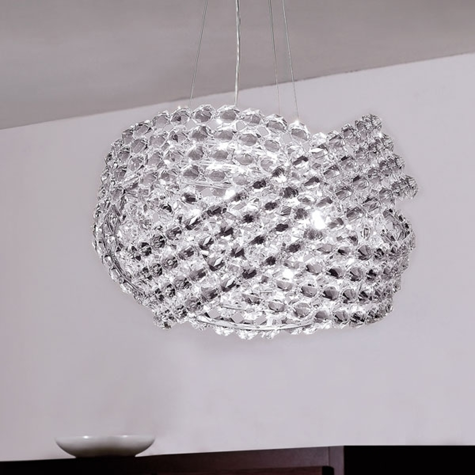 Krystall-pendellampe DIAMANTE Ø 40 cm