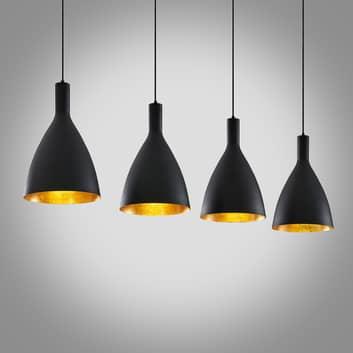 Arcchio Arthuria hanglamp, 4-lamps lang zwart