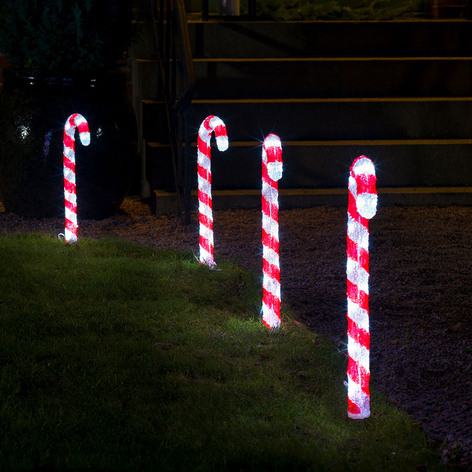 Déco extérieure LED Canne à sucre lot de 5