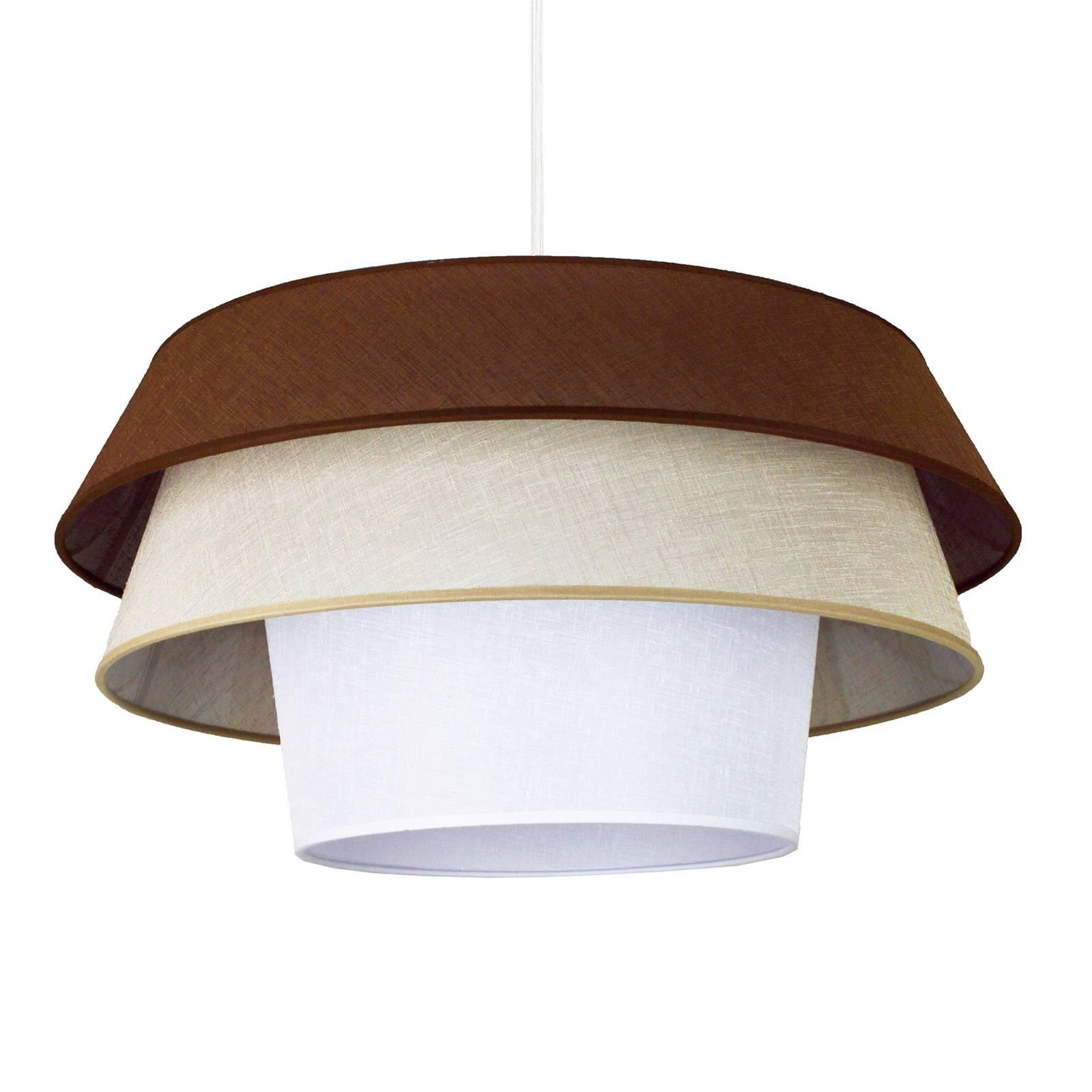 Tekstylna lampa wisząca Lotos, brązowa/ beż/biała